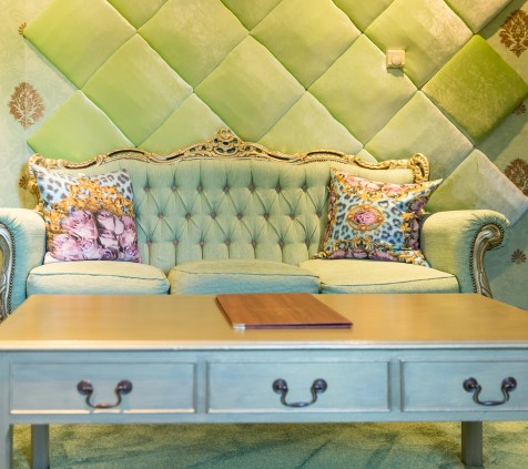 Perrier Jouet Room Sofa and Coffee Table