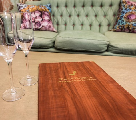 Perrier Jouet Room Menu on Coffee Table